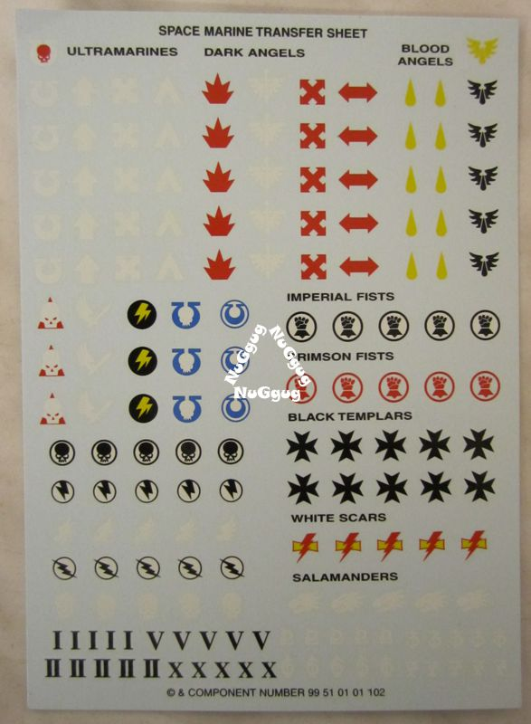 Space Marine Transfer Sheet Ultramarines Dark Angles Blood Angles Von Games Workshop Warhammer 40k