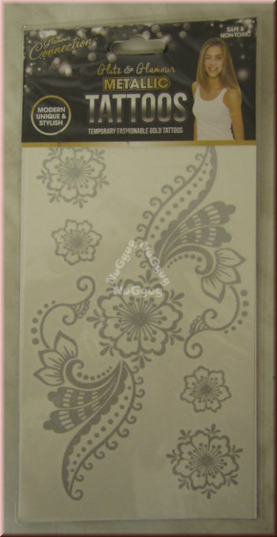 "Metallic Tattoos Motiv ""Blume"", silber"