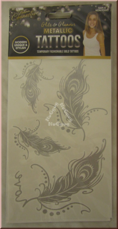 "Metallic Tattoos Motiv ""Federn"", silber"