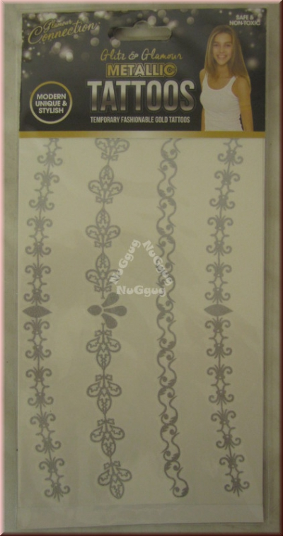 "Metallic Tattoos Motiv ""Ranken"", silber"