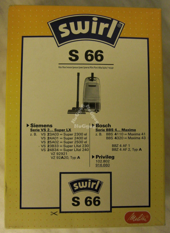 Staubsaugerbeutel Swirl S 66 für SiemensBosch, 5 Stück