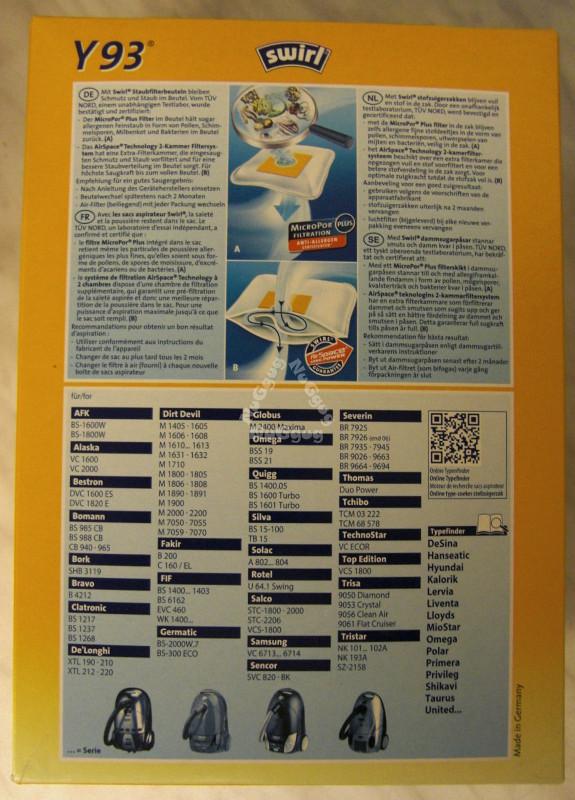 4  Staubsaugerbeutel Swirl Y93  für Alaska VC 2000
